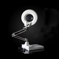 220V 20X 56 LED Illuminated Lamp Magnifying Glass Desktop Stainless Steel Stand Magnifier with Lights for Reading Working