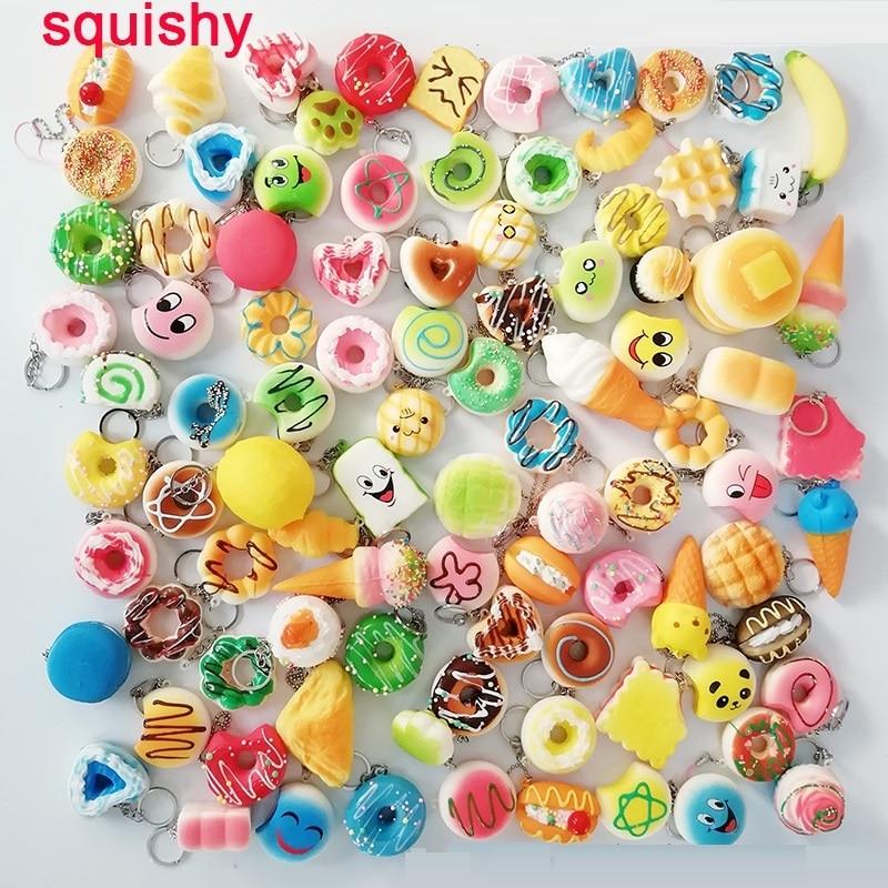 10pcs/set PU Slow rebound simulation food decompression toy squeeze toy Anti Stress Food Keychain Pendant squishy