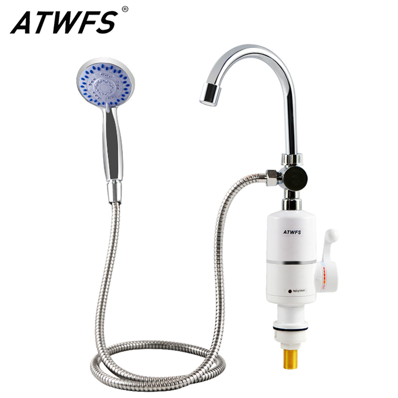 Atwfs shower water heater faucet electric hot tankless for 4 bathroom tankless water heater