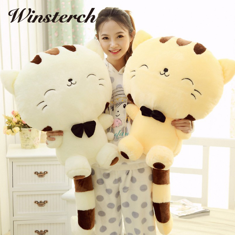 Fashion Hot Cute Big Face Smile Cat Plush Stuffed Toys Soft Animal Dolls Christmas Gifts for Kids Girls Animais Brinquedo WW311 1pcs 40cm 50cm hot sale japan rain umbrella totoro dolls stuffed plush toys dolls children gifts