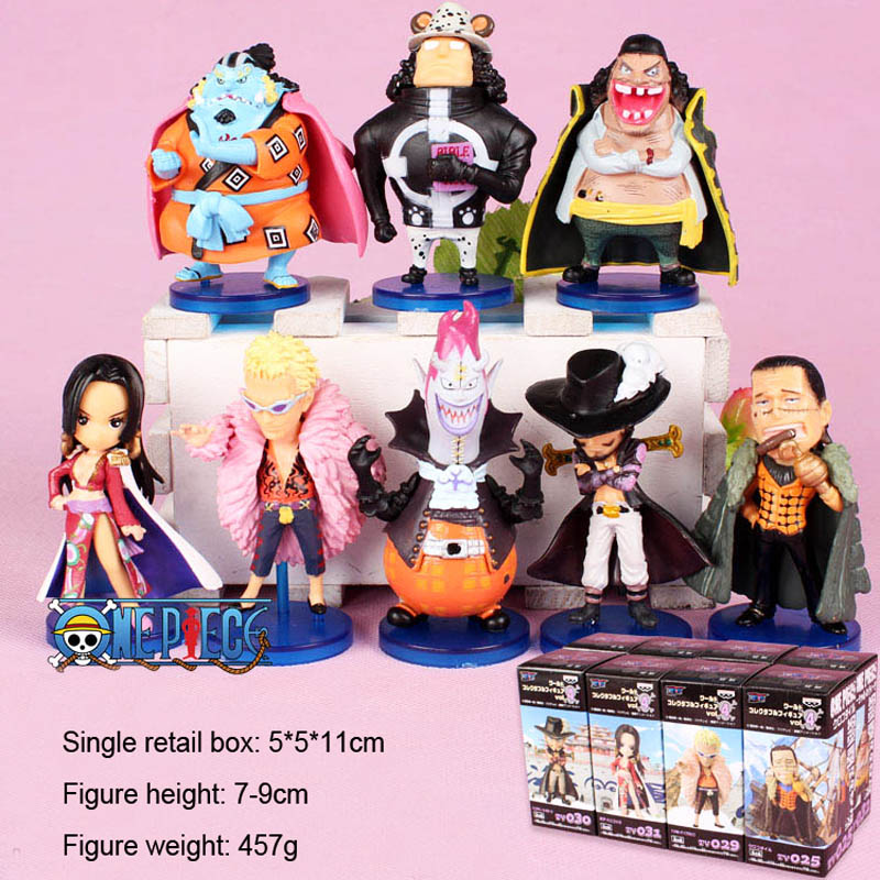 Free Shipping 8pcs 3 One Piece Anime Mihawk Hancock Jinbe Edward Teach Kuma Moria Boxed PVC Action Figure Model Doll Toys Gift