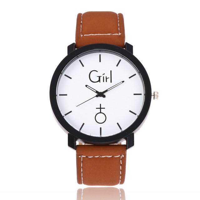 2018 New Fashion Couples watch Girl & Boy Casual Analog Leather Sport Wrist Watches For Women Men Quartz Watch Clock kol saati