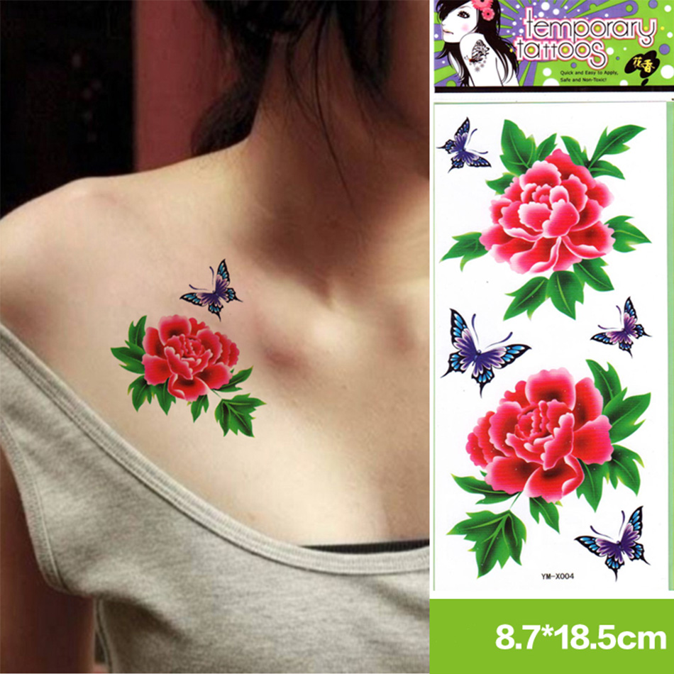 2 Stkspartij Trendy Pretty Vrouwen Tijdelijke Tattoo Bloem Vlinder