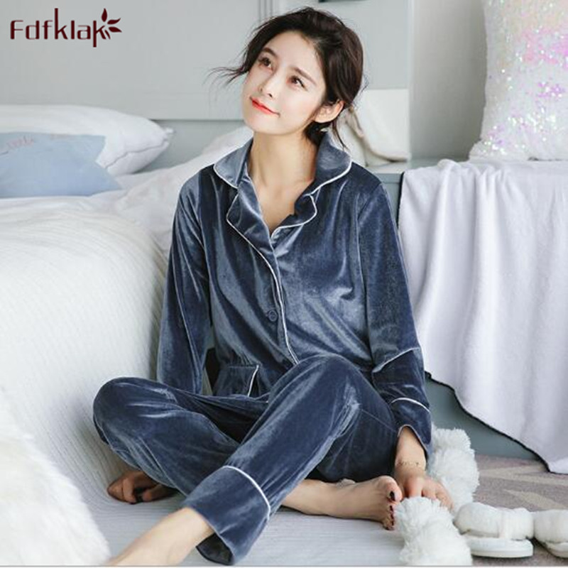 Fdfklak Gold Velvet Soft Pajamas Set Women Long Sleeve Autumn Winter Sleepwear Pyjamas Women Warm Two Piece Set pijamas mujer