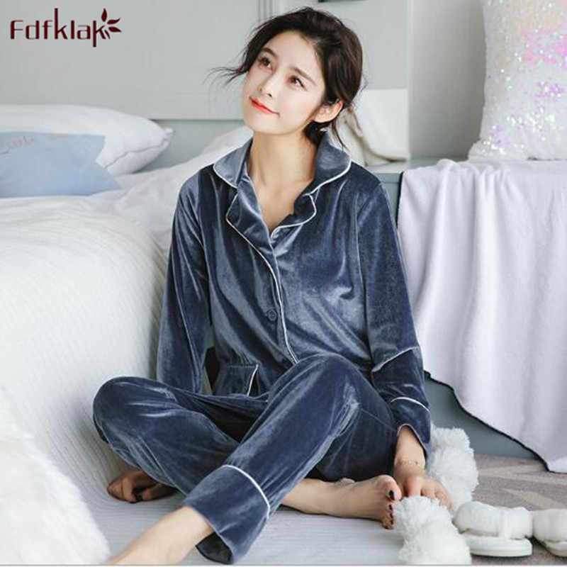 Fdfklak Gold Velvet Soft Pajamas Set Women Long Sleeve Autumn Winter  Sleepwear Pyjamas Women Warm Two fd53a923a