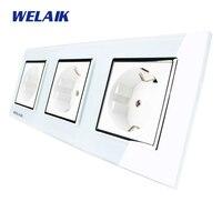 WELAIK Glass Panel Wall Socket Wall Outlet White European Standard Power Socket AC110 250V A38E8E8EW