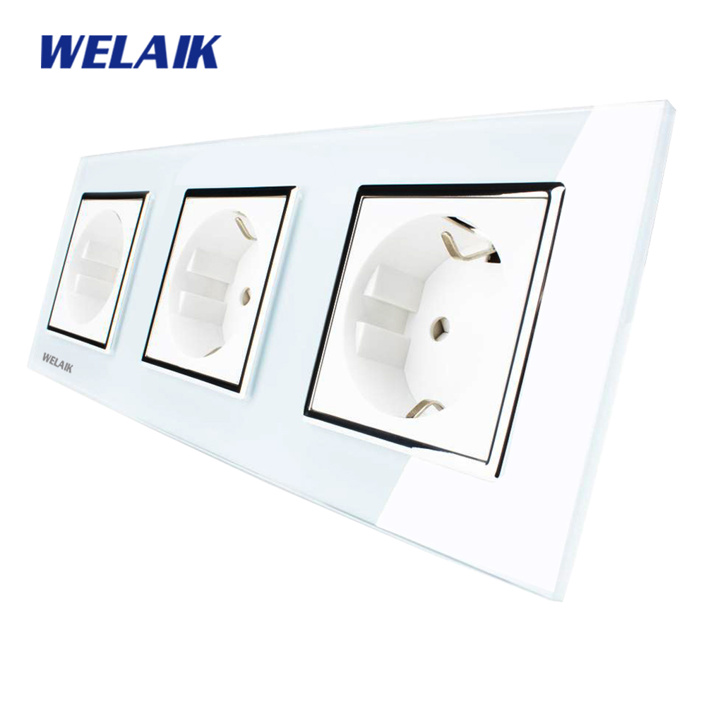 WELAIK  Glass Panel Wall Socket Wall Outlet White Black European Standard Power Socket AC110~250V A38E8E8EW/B dixinge high quality brand german standard socket wall socket tv outlet silvery were pc material panel b120 l134