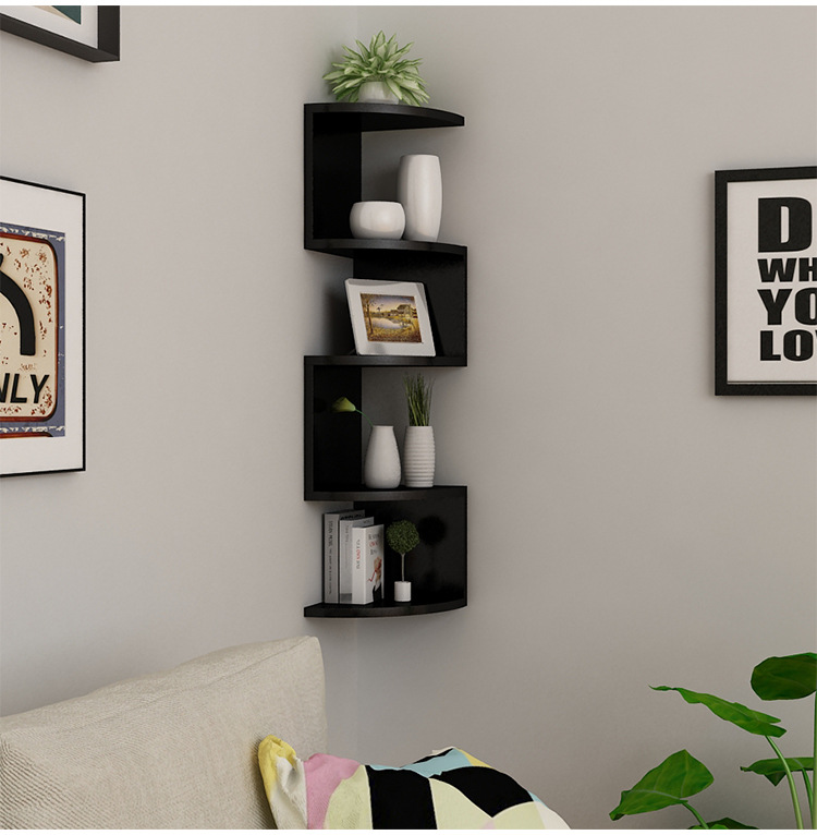 Wall Corner Books Shelves Wood Shelf