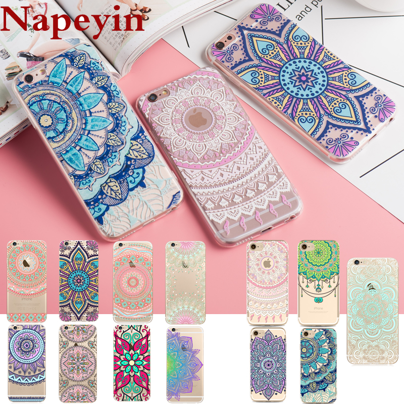 Napeyin Case For iPhone 7 6 6S 5 5S SE Plus Colorful Floral Paisley Flower Mandala Henna Clear Transparent Silicone Soft Cover