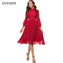 GUYUNYI Bow Tie Neck Layered Flare Sleeve Vintage Dress 2018 Red Fashion Stand Collar Chiffon Elegant Party Dress CX799(China)