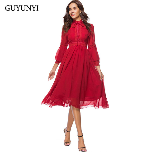 GUYUNYI Bow Tie Neck Layered Flare Sleeve Vintage Dress 2018 Red Fashion Stand Collar Chiffon Elegant Party Dress CX799