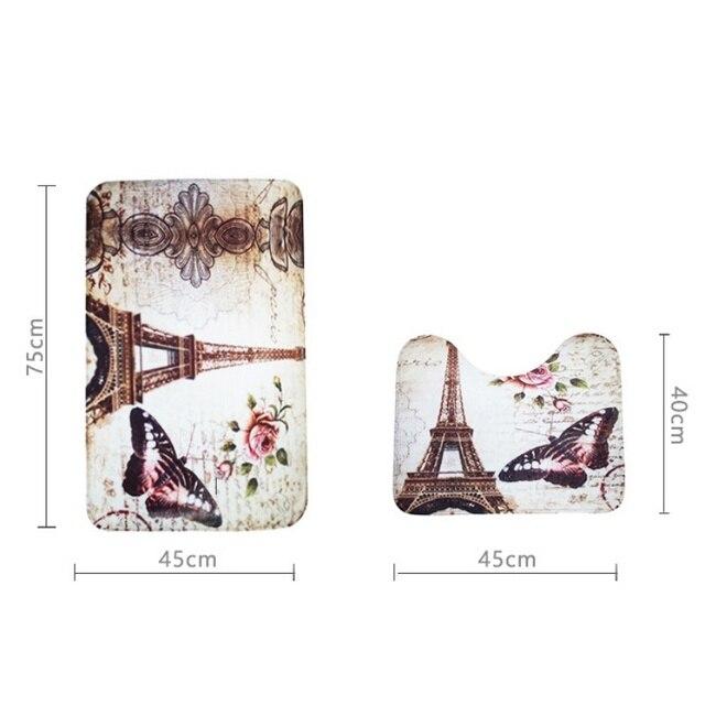 2 Pz Morbido Parigi Torre Eiffel Bagno Piedistallo Copertura Tappeto Bagno Tappetino Da Bagno Set Bagno di Famiglia Tappeti Design Decor new