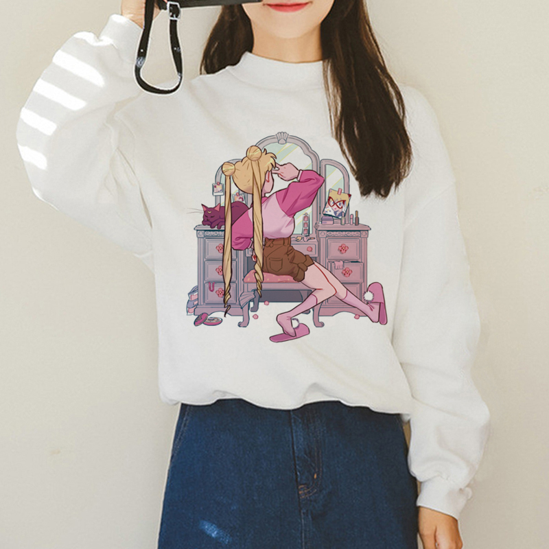 Sailor Moon Kawaii Harajuku Hoodies For Women Autumn Winter Warm Usagi Cartoon 90s Sweatshirts Ullzang Korean Style Hoody Female
