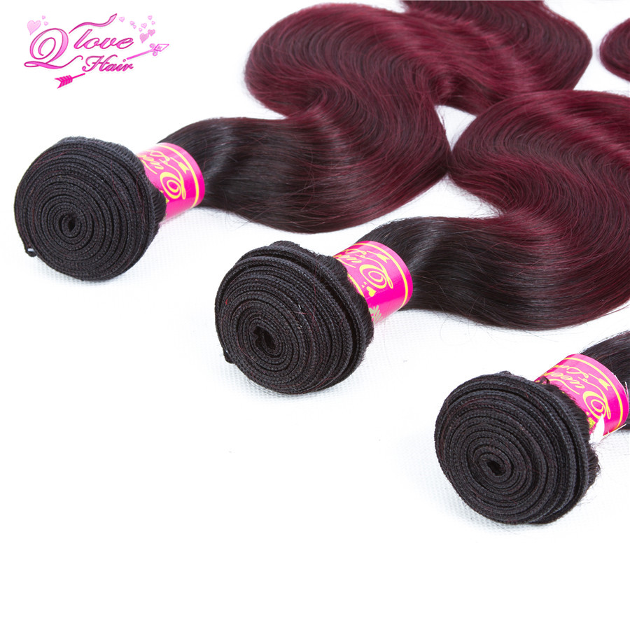 Queen Love Hair Pre-Colored 4 Bundles With Closure Mongolian Non Remy Body Wave Ombre 1B/99J Two Tone 100% Human Hair