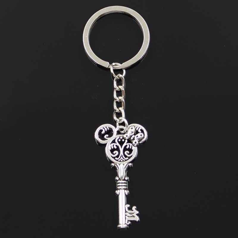 Fashion Keychain 46x22mm Vintage Mouse Key Pendants DIY Men Jewelry Car Key Chain Ring Holder Souvenir For Gift