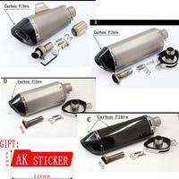 Universal 51mm Motorcycle Muffler Carbon Fibre Moto Exhaust pipe TTR YZFR1 R6 YZF600 FZ400 CF150 CF250 GSXR750 GSXR600