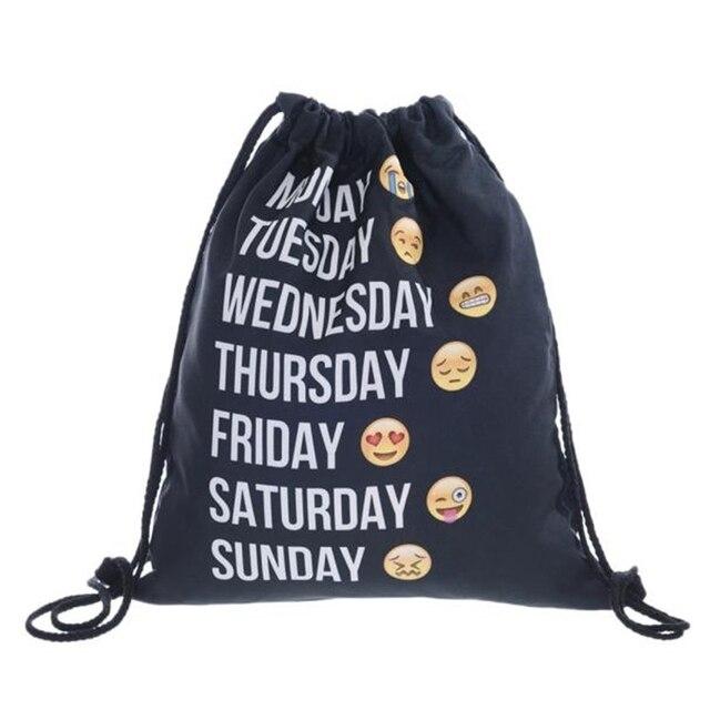 Унисекс Emoji рюкзаки 3D Сумка на шнурке с рисунком Рюкзак Студенческая школьная сумка Mochila Feminina мешок сумки