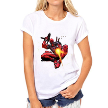 BONA 2016 Women Harajuku T-shirt Deadpool Pattern Prited t shirts womans Funny Hipster women tops Free shipping