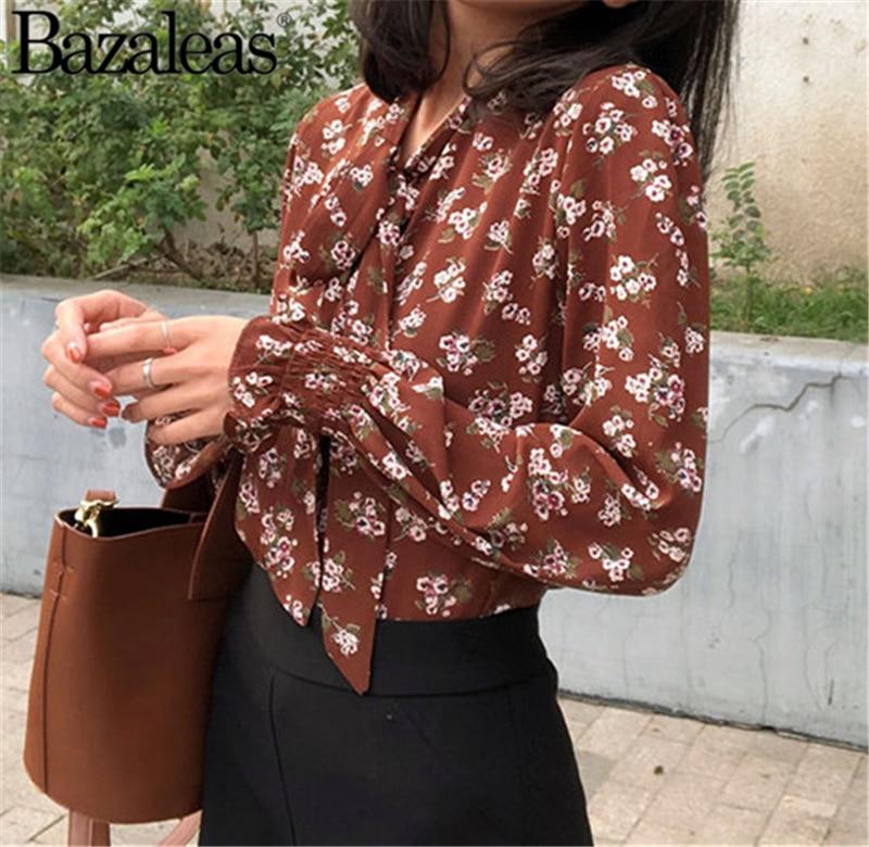 4345cy676brown 4345cy676white Arco 2019 Y Flora Tops Mujeres Centro Primavera Blusas Cuello Las Blusa De xwwqgZO4