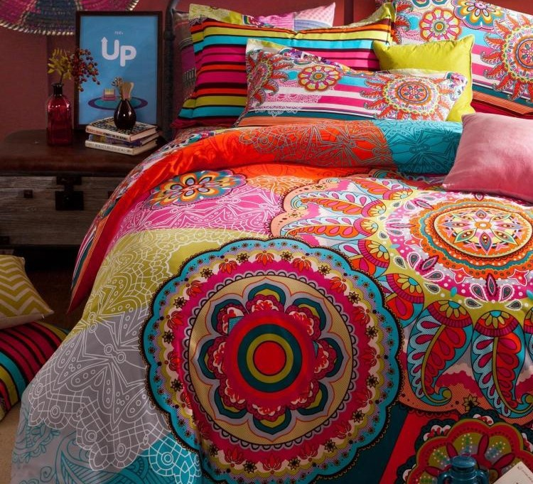 Vintage colorful 100 cotton bedding sets king queen size for Lit queen size