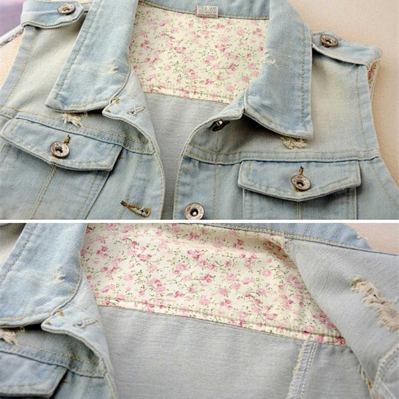 Летние короткие джинсовые женские куртки 2019 Большие размеры повседневные тонкие однобортные Feminino джинсовые куртки без рукавов 5XL R411