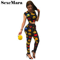 Emoji Print Women Tracksuit 2017 Summer Two Piece Set Crop Top and Pants Suit Cute Jogger Set Casual Sweat Suits D36-AE58