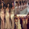 Gold Lace Sequined New Arrival Cheap Modest Mermaid V Neck With Split Floor Length Bridesmaid Dresses Maid Of Honor For Wed 2017