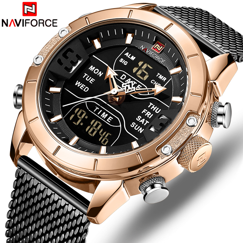 Top Brand Quartz Men Military Sport Watches Mens LED Analog Digital Watch Male Army Stainless Clock Relogio Masculino NAVIFORCETop Brand Quartz Men Military Sport Watches Mens LED Analog Digital Watch Male Army Stainless Clock Relogio Masculino NAVIFORCE