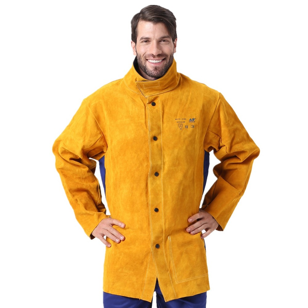 Leather Welding Jacket Flame Heat Abrasion Resistant Hybrid FR and Cowhide Long Sleeve Jacket Apparel for Welding Worker