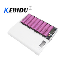 Kebidu Diy Multi Kleur 8*18650 Lithium Ion Batterij Case Power Bank Shell Draagbare Lcd scherm Externe doos Zonder Batterij