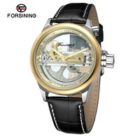 Forsining Hollow Out Automatische Mechanische Mannen Lederen Horloges Transparant Skeleton Business Casual Zelf Wind Klok