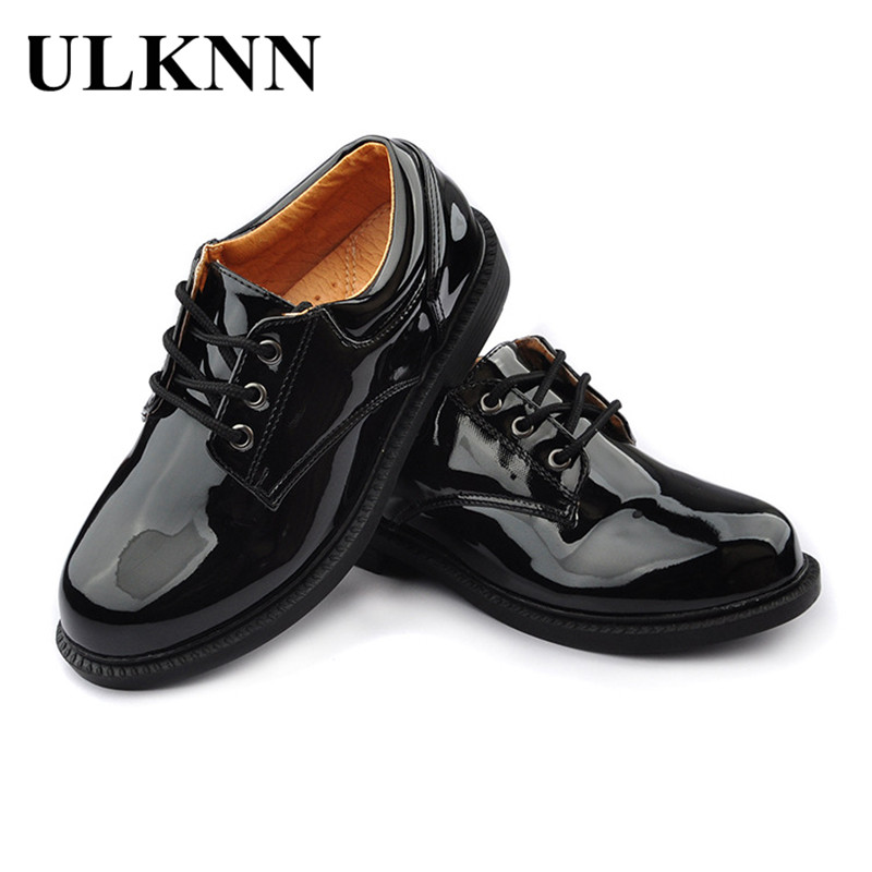 ULKNN Boys Leather Shoes Black Autumn Children Shoes Boys And Girls Leather Shoes For Kids Baby Rubber Pattern chaussure enfant