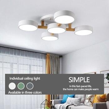 Ruang Tamu Modern Lampu Sederhana dan Hangat Nordic Kepribadian Kreatif LED Macarons Log Home Kamar Tidur Utama Hall Lampu Langit-langit