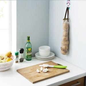 Image 4 - FOURETAW créatif costume réticulaire pour la nourriture légumes fruits pomme de terre ail sac poubelle tenture murale maison bureau cuisine sac de rangement