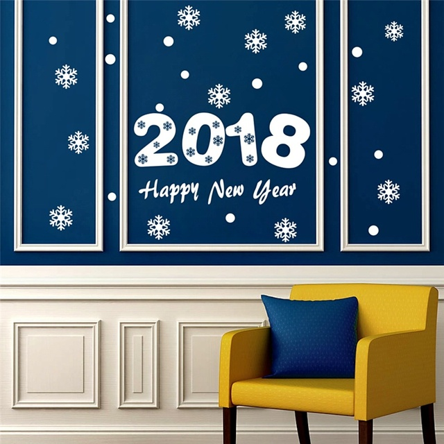 2018 Happy New Year Wall Stickers Home Decor Living Room Store