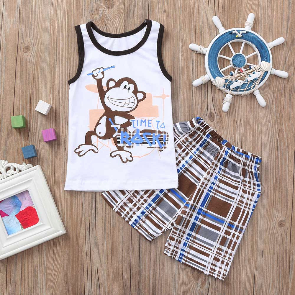 Hot Sale Boy Monkey Letter Print Sleeveless Top Plaid Print Pants Two-piece Set Aromatic Character And Agreeable Taste Mother & Kids Boys' Clothing