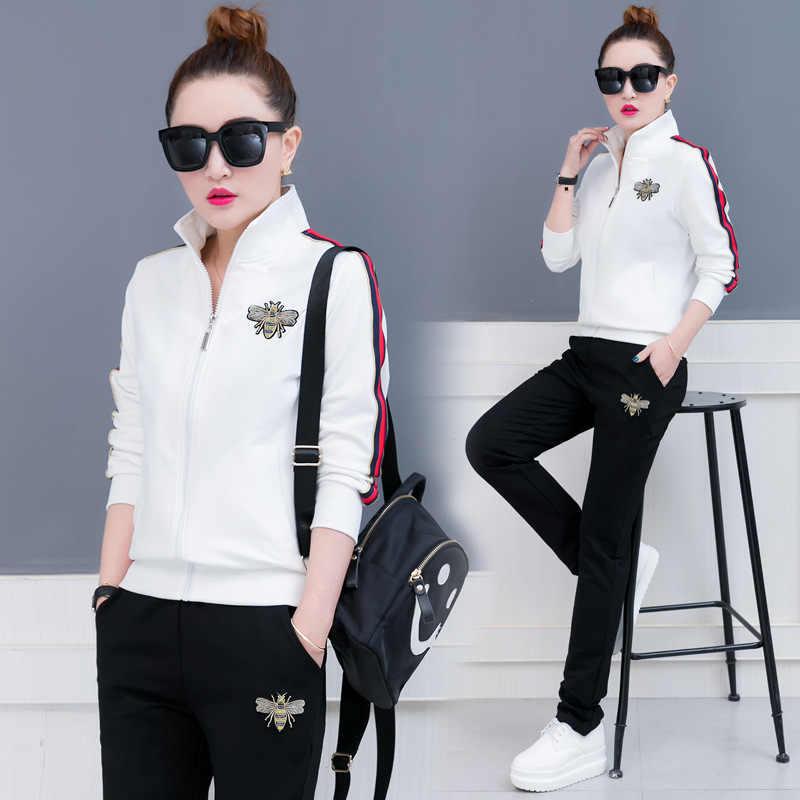 2019 nuove donne della molla di abbigliamento sportivo tuta zip up giacca di felpa + pantaloni da corsa jogger casual fitness workout set vestito di sport