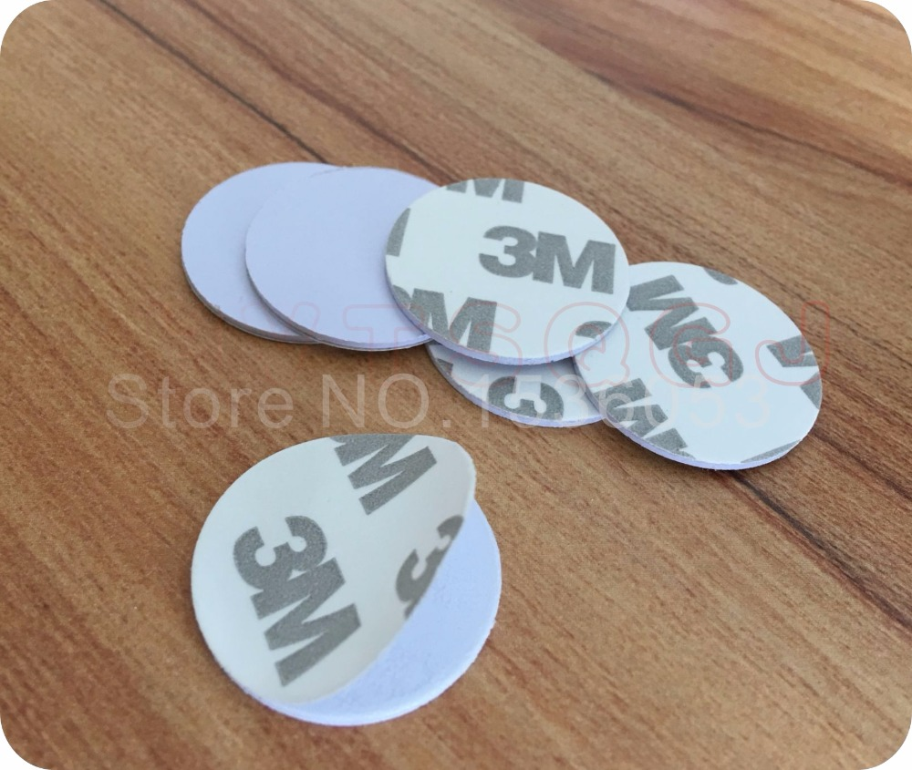 1000pcs 25mm 125 Khz RFID Cards ID 3M Sticker Coin Cards TK4100 Chip Compatible EM4100 For
