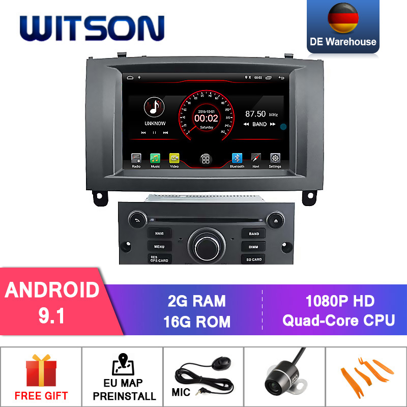 DE STOCK! WITSON CAR DVD PLAYER for PEUGEOT 407 Android 9.0 4+64GB IPS HD Screen CAR STEREO 8 Octa Core+DVR/WIFI+DSP+DAB+OBD