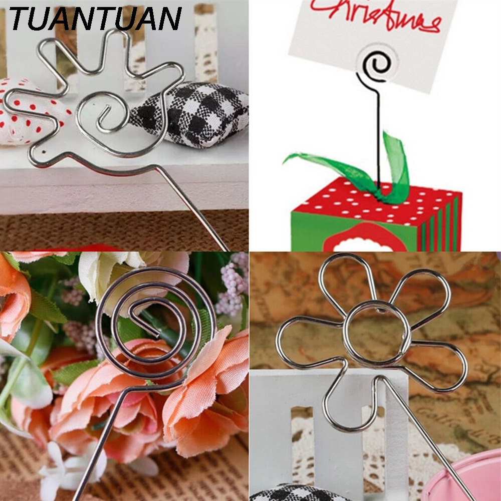 Tuantuan Photo Memo Holder Clips Desk School Office Accessories Sliver Color Wire Clip Flower Heart Shape Craft Paper Card Note Ture 100% Guarantee Office Binding Supplies