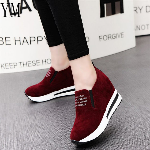 2018 Flock New High Heel Lady Casual black/Red Women Sneakers Leisure Platform Shoes Breathable Height Increasing Shoes 61