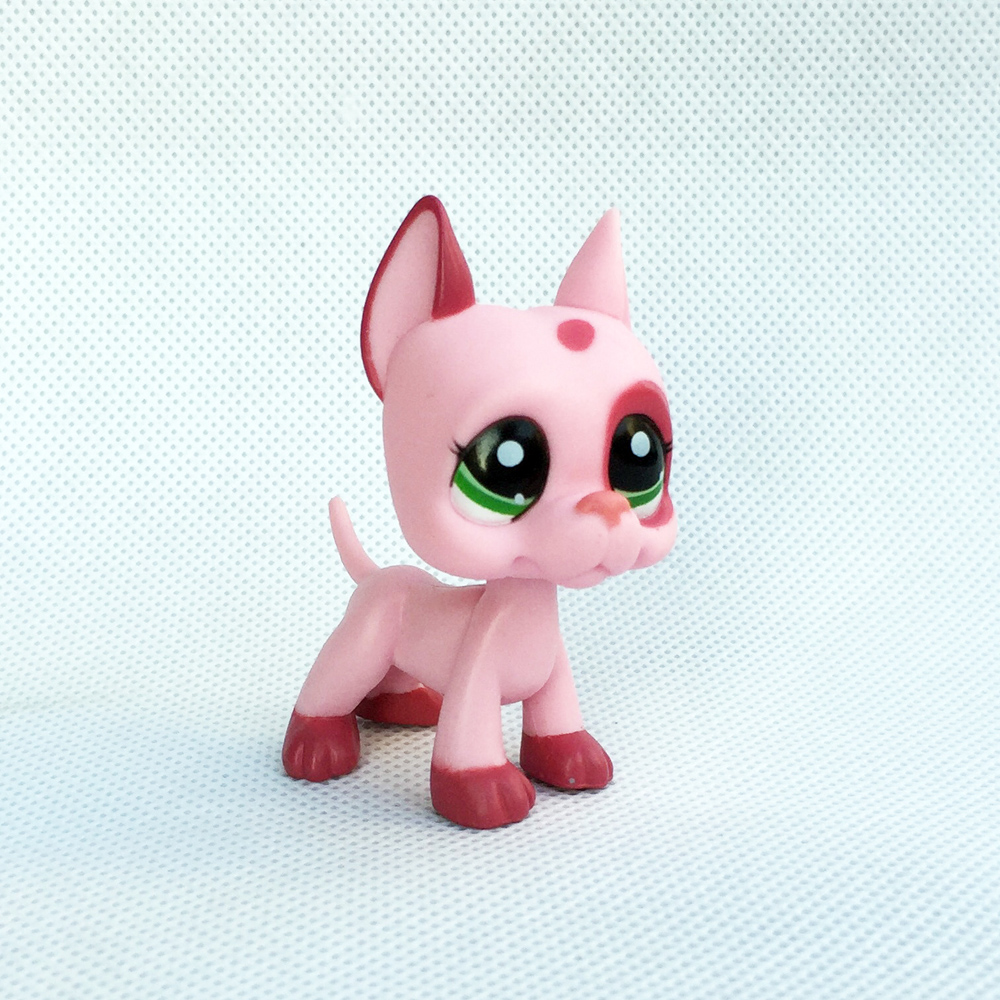 Rare pet shop lps toys little pink great dane dog #2598 red eyes animal old original kids Christmas gift