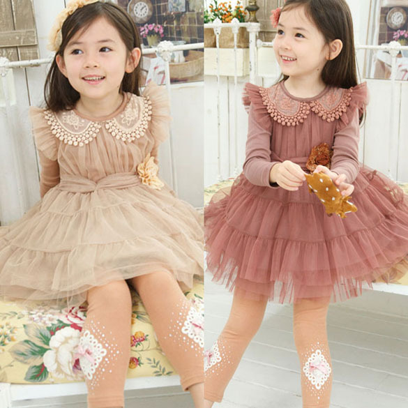 7e0e7d9a23d0 2014 New Spring Winter Kids Girl Clothing Girls Solid Flower Princess Party  Dresses Kids Lace Dress