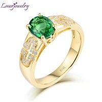 Одноцветное 14Kt/AU585 желтого золота настоящий бриллиант зеленый цаворит обручальные кольца для женщин Gemstone Fine Jewelry любящий подарок