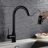 Black Antique Brass Kitchen Sink Faucet With Deck Mounted Hot Cold Kitchen Sink Mixer Tap Of