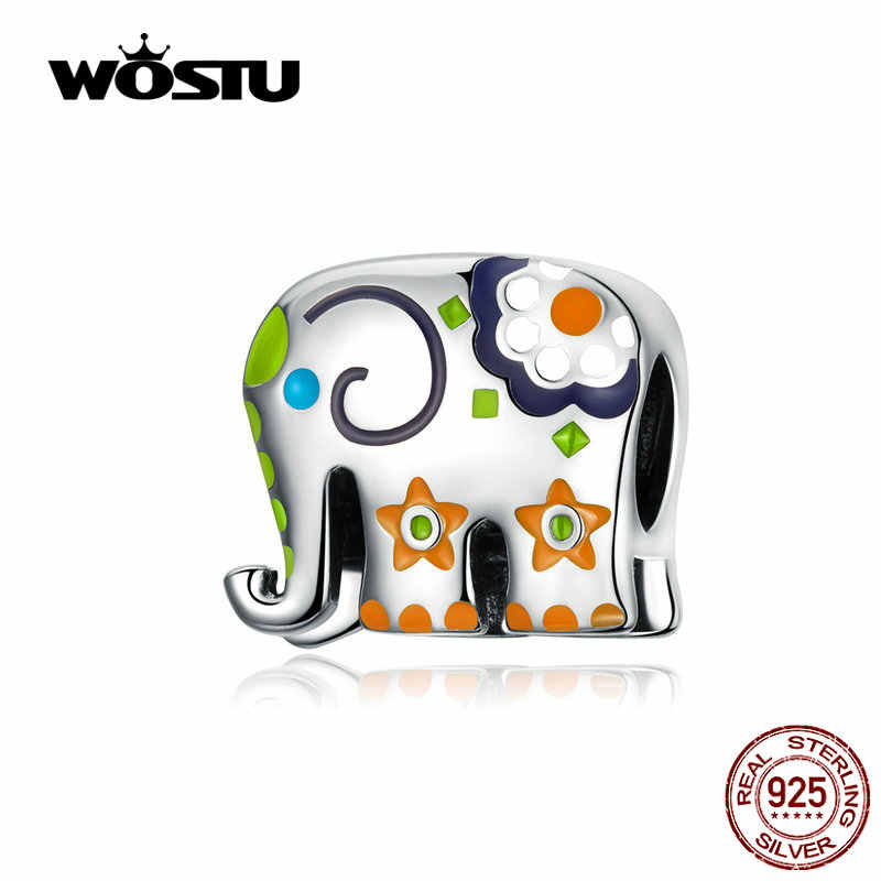 WOSTU Colorful Happy Elephant Beads Genuine 925 Sterling Silver Charms Fit Original Bracelet Pendant Jewelry Gift CTC095