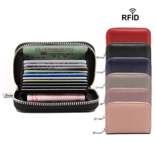 Genuine Leather Business Women Card Holder Cards Female Pack Real CardHolder Zipper Credit By 12 Slots