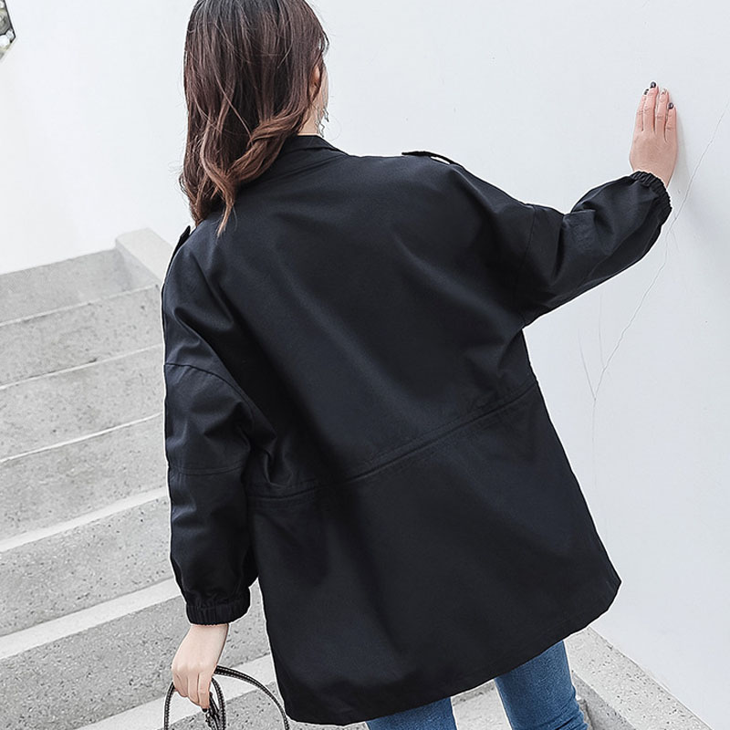 Women's Loose Female 2019 Large Womens Clothes Size bean Casual Jacket New Overcoat Black Coat Basic Spring Paste Windbreakers Autumn B6q400