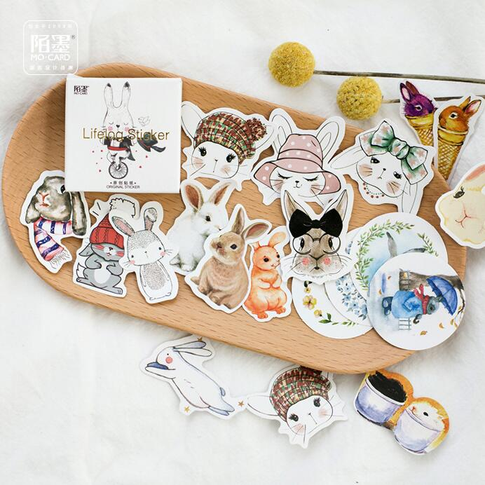 45 pcs/pack Hello Lovely Rabbit Decorative Stickers Adhesive Stickers DIY Decoration Diary Stickers Box Package alive for all the things are nice stickers adhesive stickers diy decoration stickers
