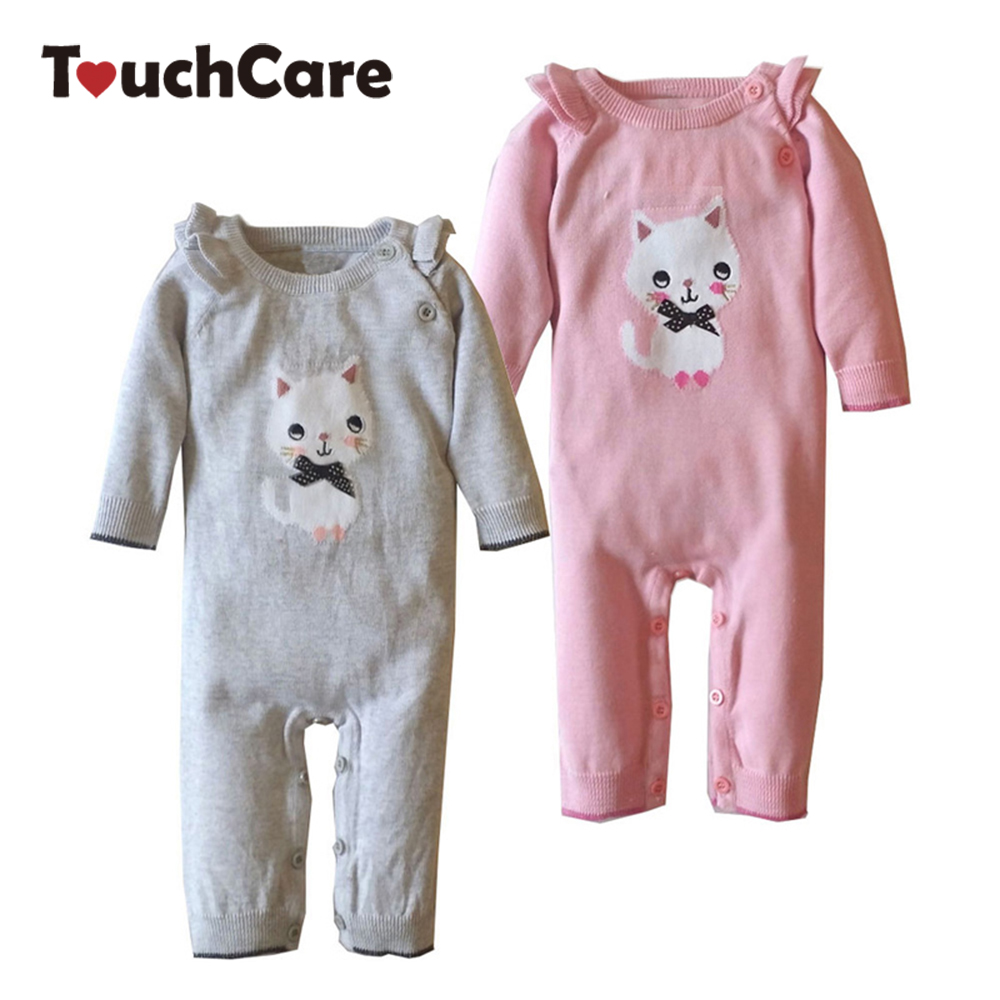 Cute Cartoon Cat Baby Rompers Winter Infant Long Sleeve Solid Kids Boy Girl Clothes Knitted Sweater Toddler Jumpsuit Outfits autumn winter baby girl rompers striped cute infant jumpsuit ropa long sleeve thicken cotton girl romper hat toddler clothes